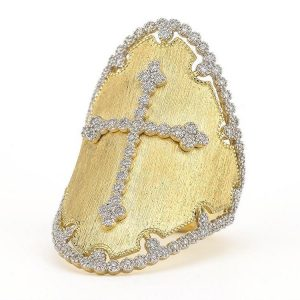Jude Frances 18K Provence Champagne Oval Bezel Cross Ring