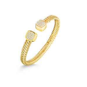 Roberto Coin 18K Gold Flexible Cuff With Diamonds