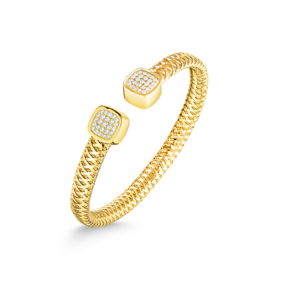 Roberto Coin 18K Gold Flexible Cuff With Diamonds