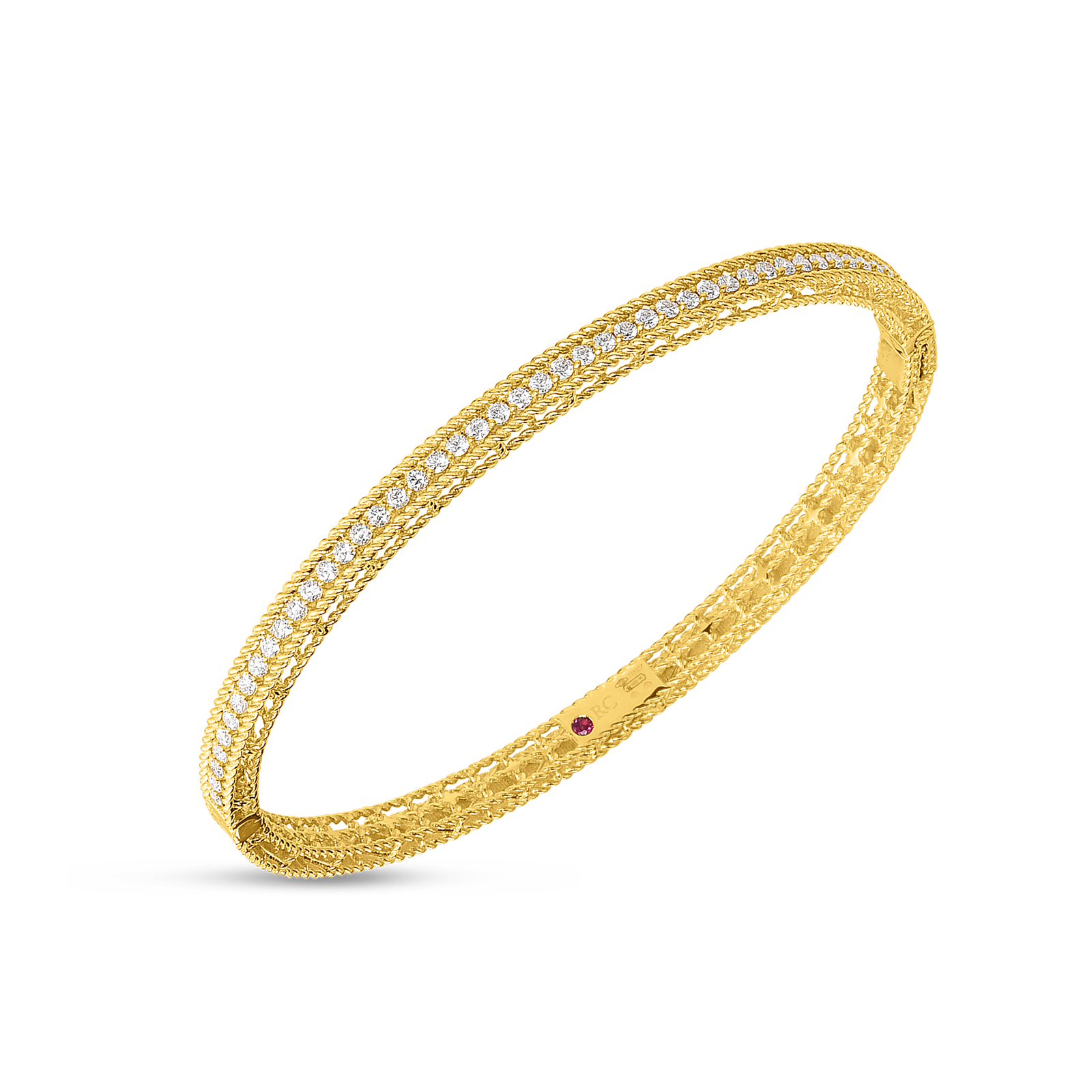 Roberto Coin 18K Yellow Gold Diamond Princess Oval Bangle