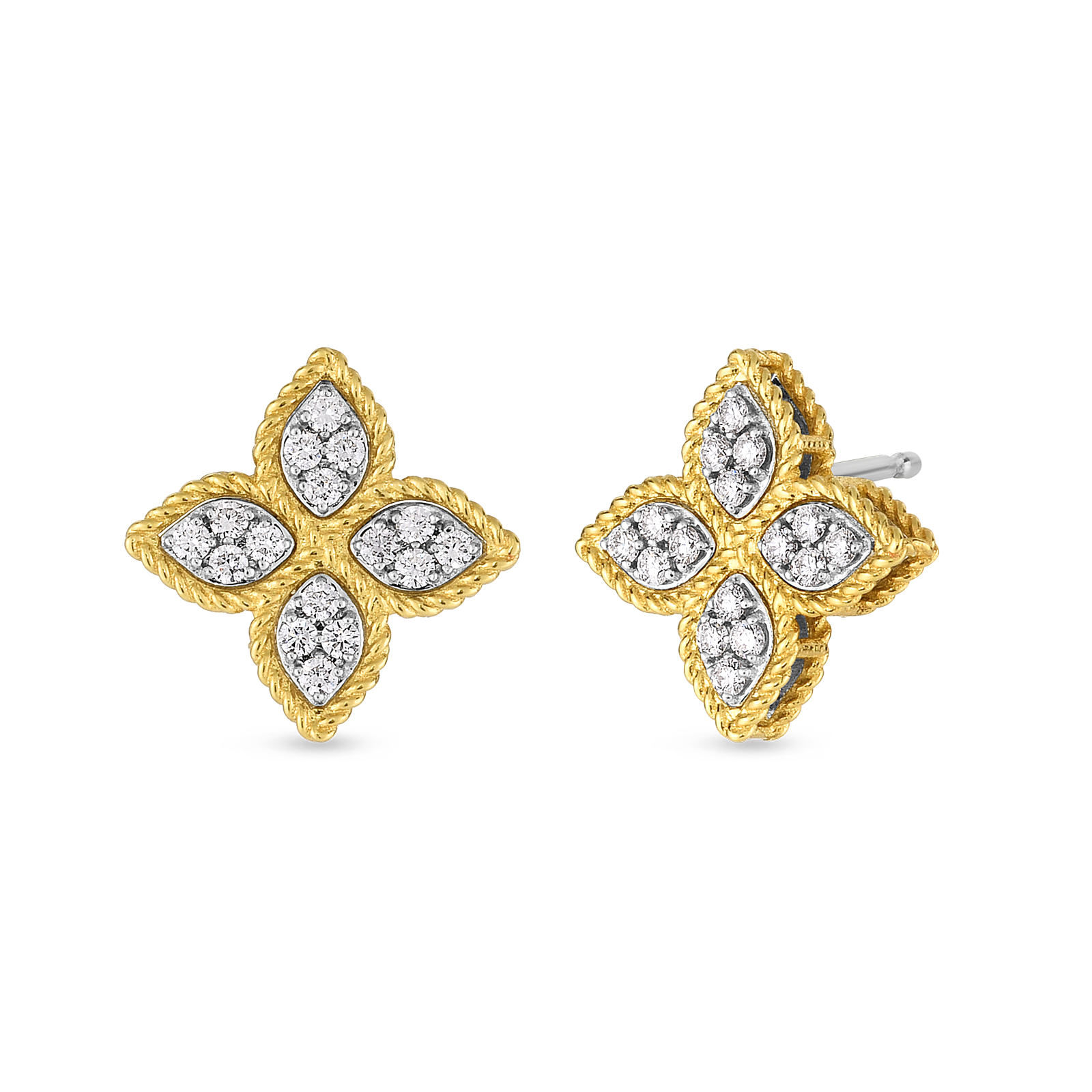 Roberto Coin 18K Yellow Gold Princess Flower Earrings With Diamonds