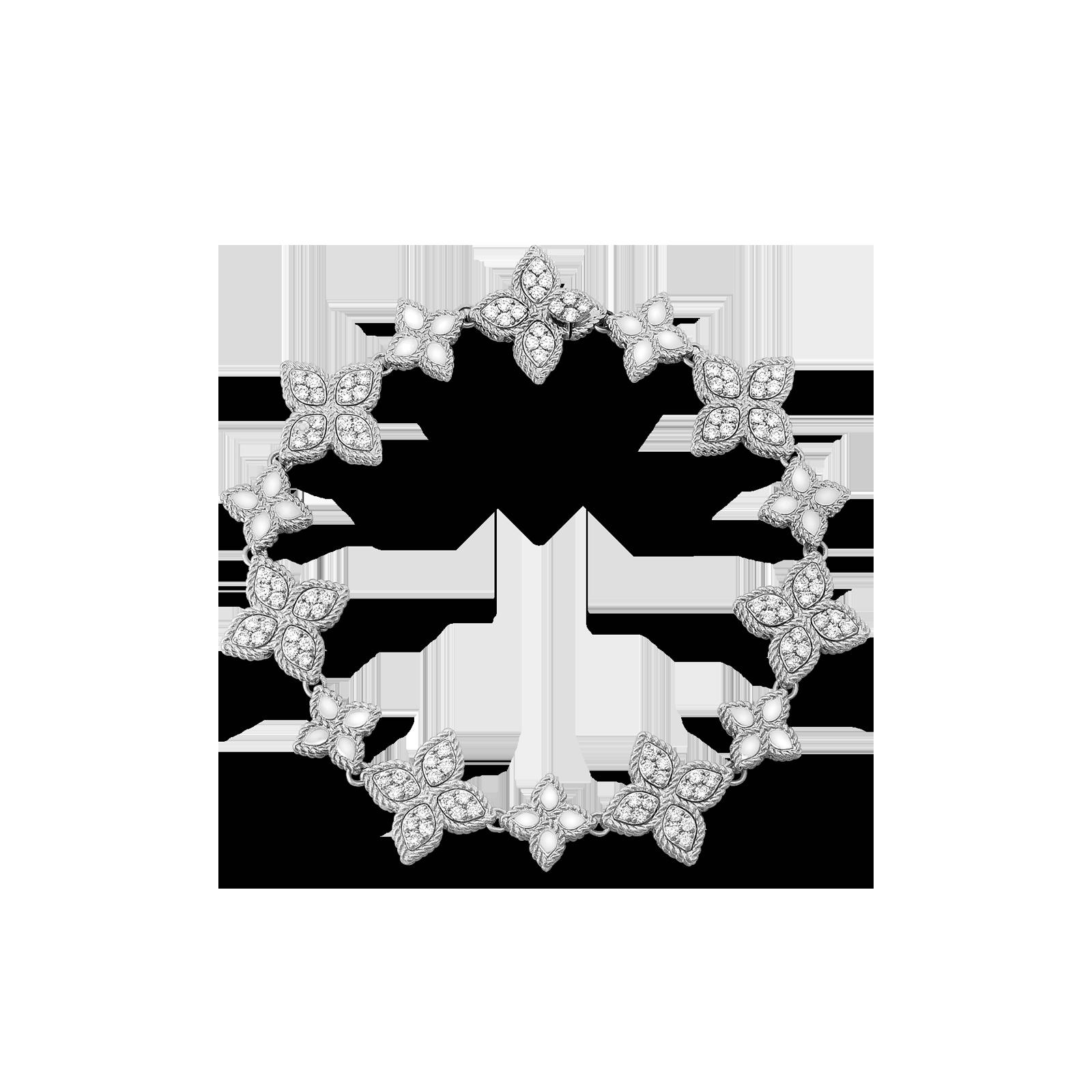 Roberto Coin 18K White Gold Princess Flower Link Bracelet With Diamonds