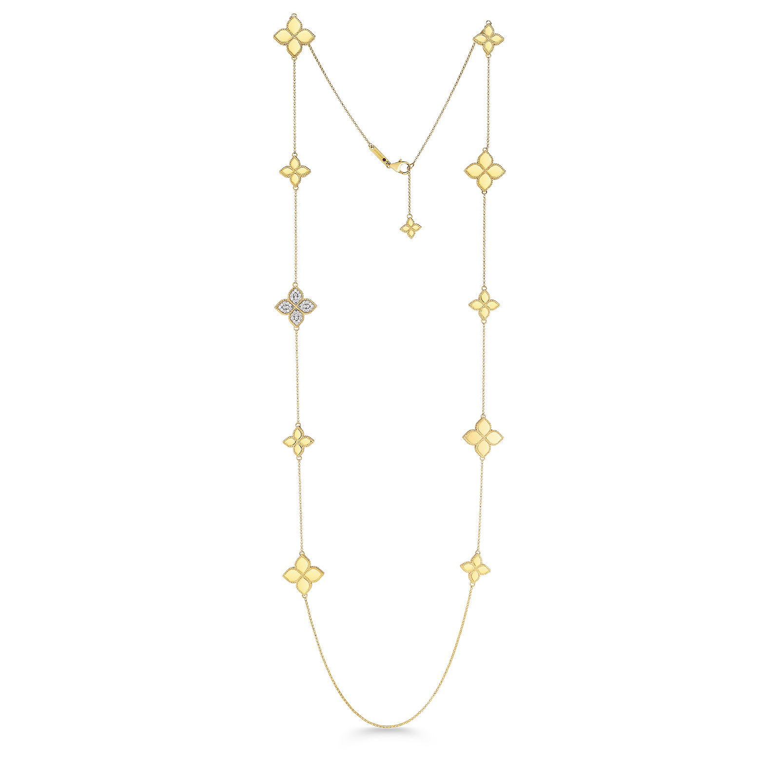 Roberto Coin 18K Yellow Gold Princess Flower Station Necklace With Diamonds