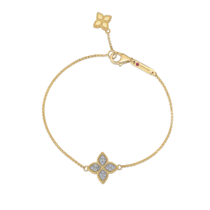 Roberto Coin 18K Yellow Gold Princess Flower Charm Bracelet With Diamonds