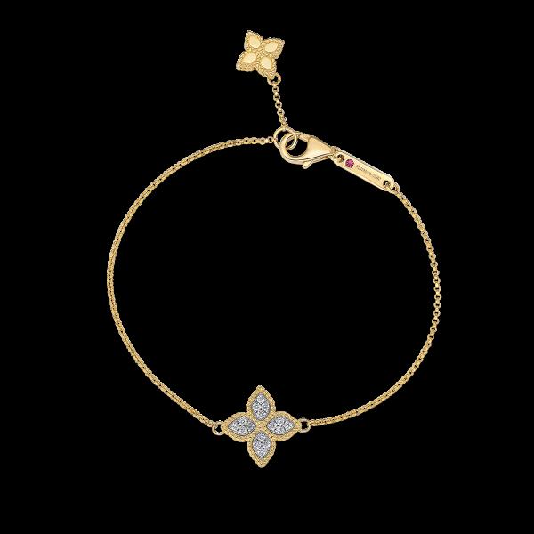 Roberto Coin 18K Yellow Gold Princess Flower Charm Bracelet With Diamonds