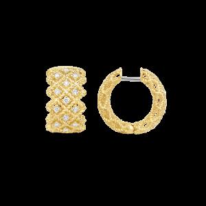 Roberto Coin 18K Gold 3 Row Hoop Earrings With Diamonds