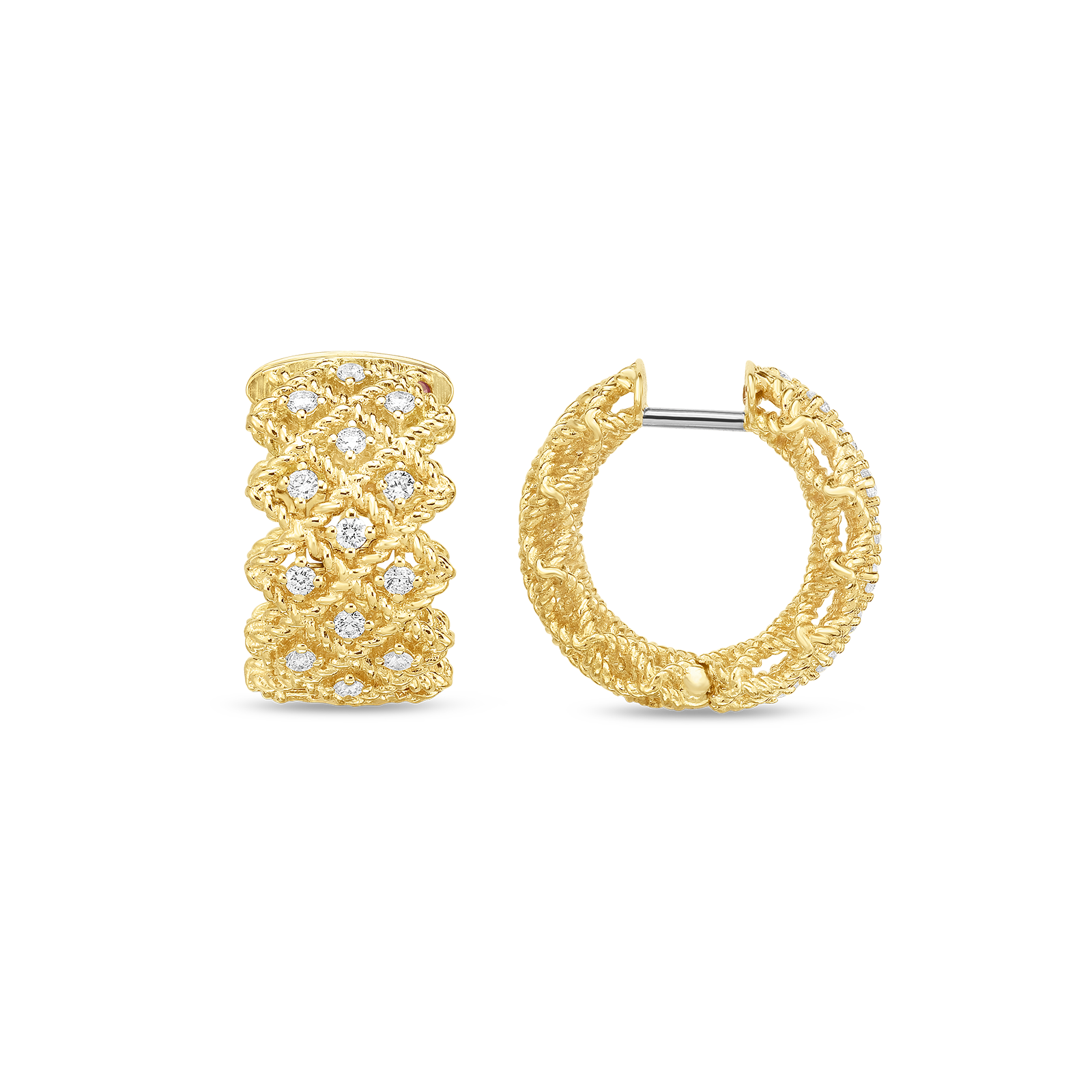 Roberto Coin 18K Gold 3 Row Hoop Earrings With Diamonds