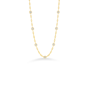 Roberto Coin 18K Gold Necklace With 7 Square Diamond Stations
