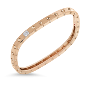 Roberto Coin 18K Rose Gold 1 Row Square Bangle With Diamonds