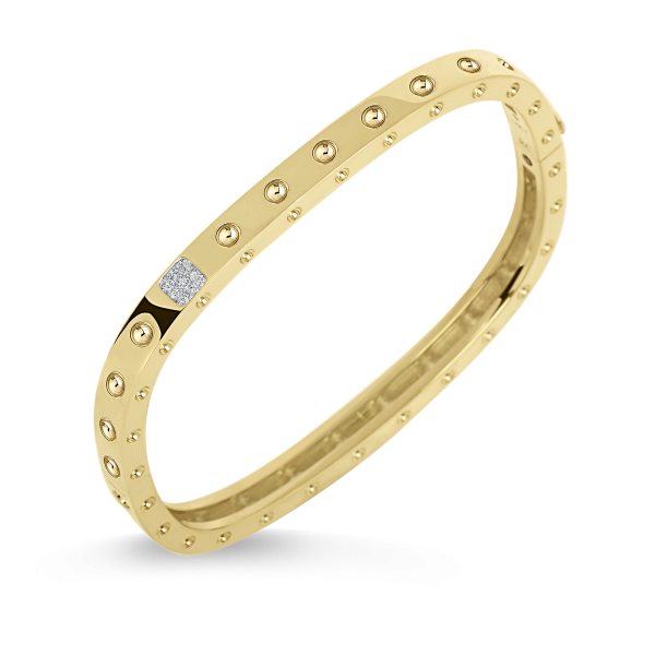 Roberto Coin 18K Yellow Gold 1 Row Square Bangle With Diamonds