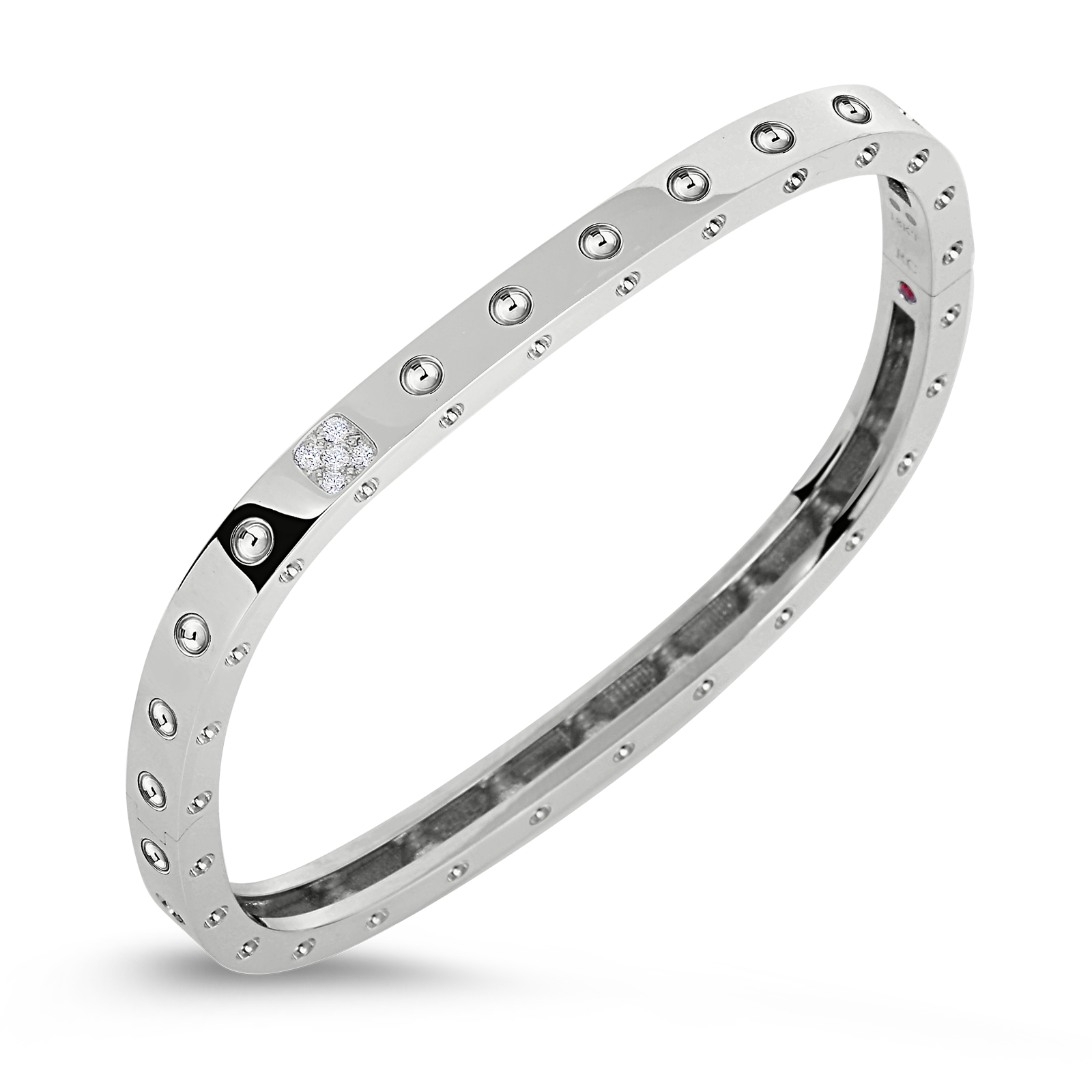 Roberto Coin 18K White Gold 1 Row Square Bangle With Diamonds