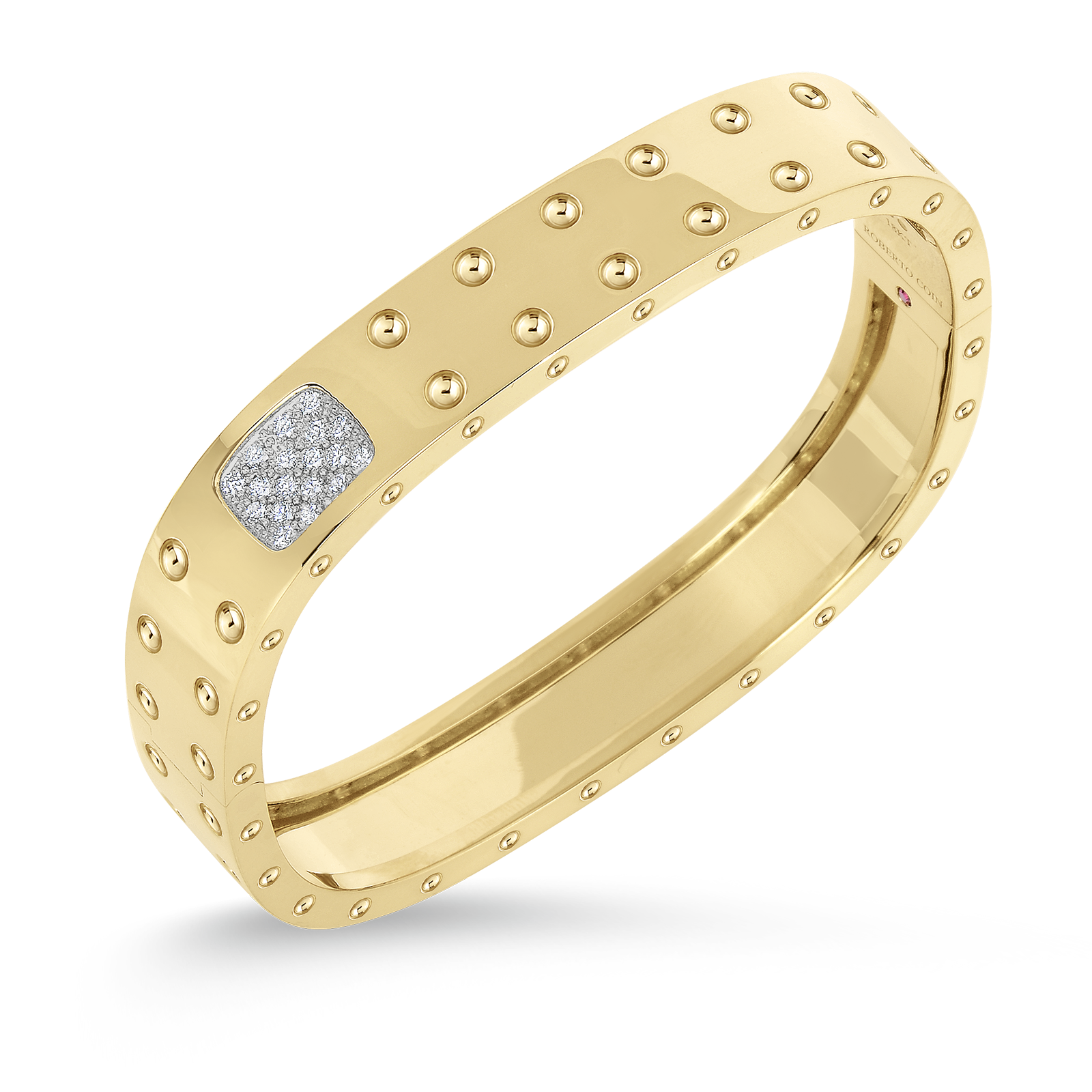 Roberto Coin 18K Gold 2 Row Square Bangle With Diamonds