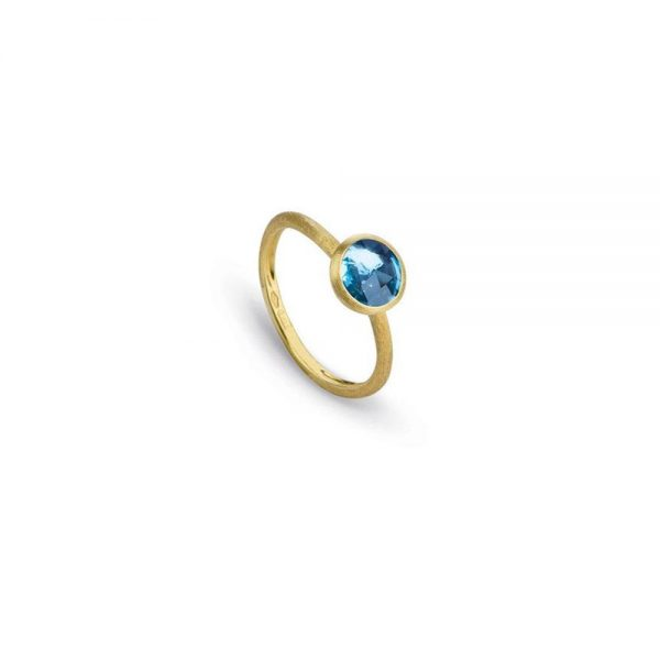 Marco Bicego Jaipur 18K Yellow Gold & Rose Cut Cushion Blue Topaz Stackable Ring