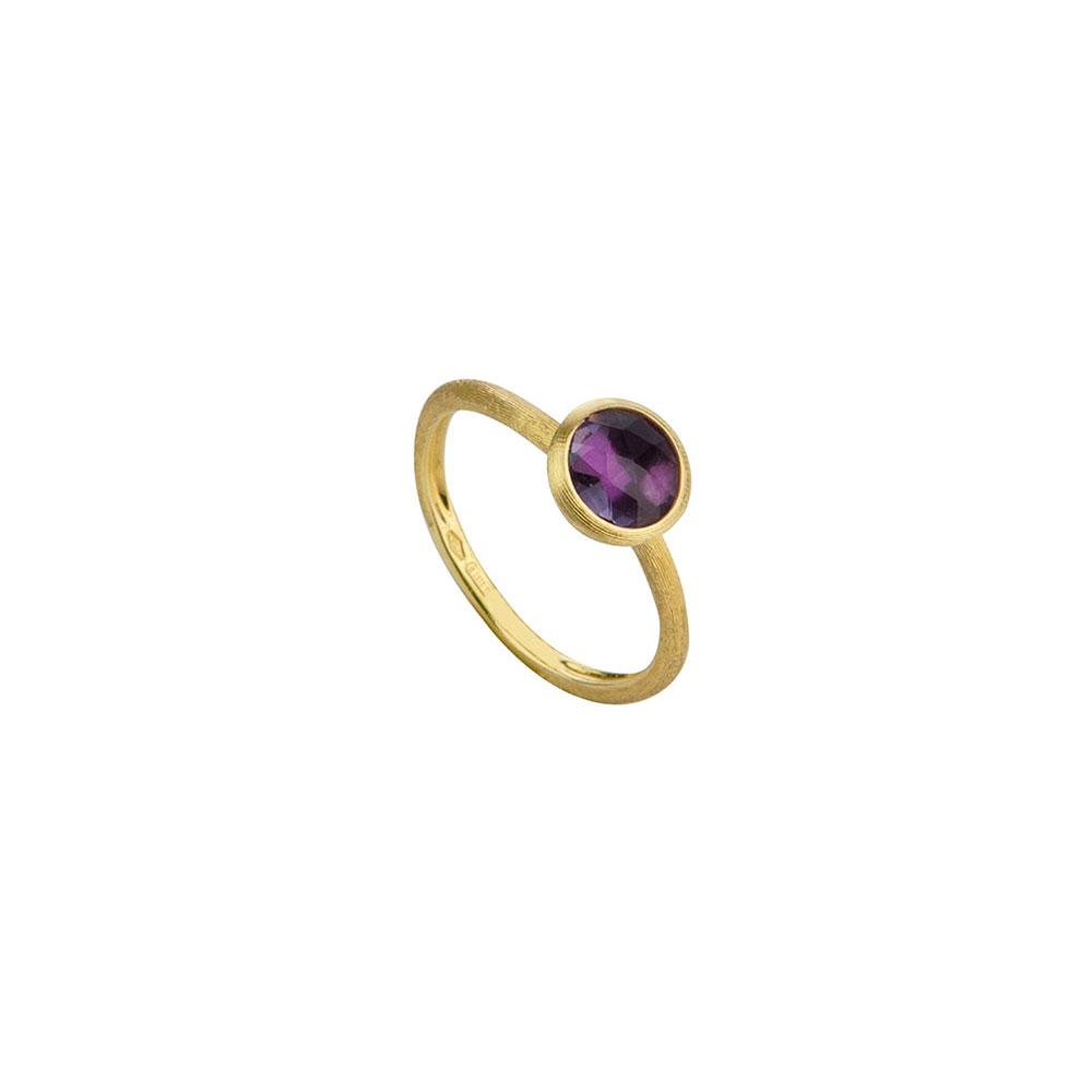 Marco Bicego Jaipur 18K Yellow Gold & Rose Cut Cushion Amethyst Stackable Ring