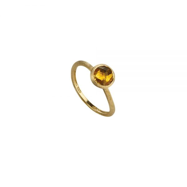 Marco Bicego Jaipur 18K Yellow Gold & Rose Cut Cushion Citrine Stackable Ring