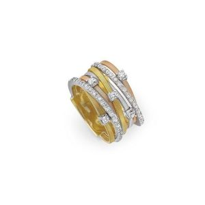 Marco Bicego Goa 18K Yellow, Rose and White Gold Seven Strand Diamond & Pave Ring