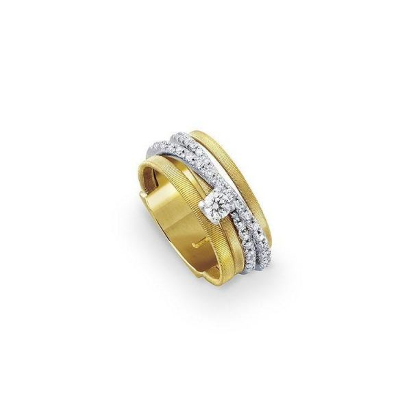 Marco Bicego Goa 18K Yellow Gold Five Strand Crossover Pave Diamond Ring