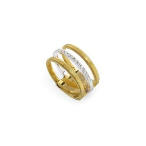 Marco Bicego Masai 18K Yellow Gold Three Row Pave Diamond Ring