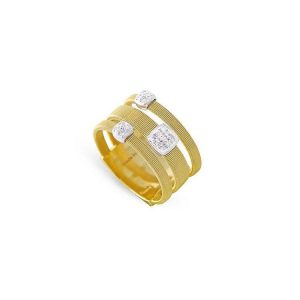 Marco Bicego Masai 18K Three Strand Ring with Diamonds in Yellow Gold