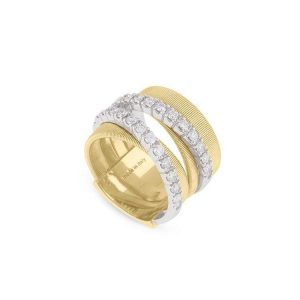 Marco Bicego Masai 18K Yellow Gold & Diamond five Row Crossover Ring