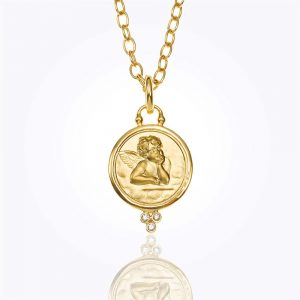 Temple St. Clair 18K Angel Pendant With Diamond Granulation