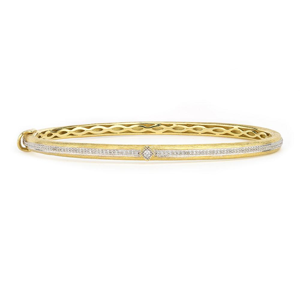 Jude Frances 18K Lisse Brushed Pave Bangle With Simple Diamond Accent