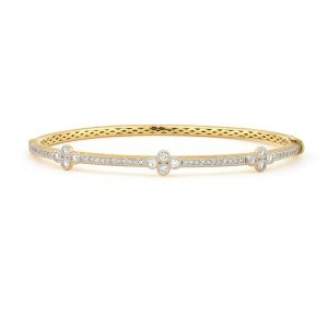 Jude Frances 18K Provence Bangle With Three Diamond Quads