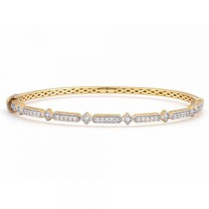 Jude Frances 18K Gold Lisse Alternating Elongated Kite Diamond Bangle
