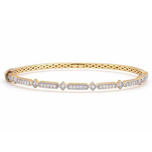 Jude Frances 18K Gold Lisse Alternating Elongated Kite Diamond Bangle