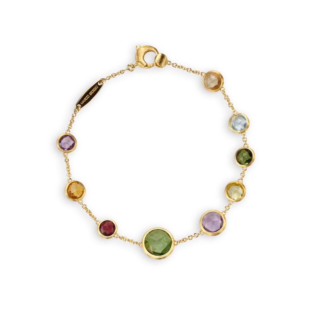 Marco Bicego Jaipur 18K Yellow Gold Single Strand Mixed Gemstones Bracelet