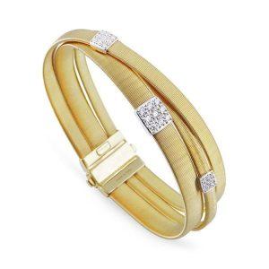 Marco Bicego Masai 18K Three Strand Crossover Diamond Bracelet in Yellow Gold