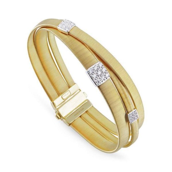 Marco Bicego Masai 18K Three Strand Crossover Diamond Bracelet in Yellow Gold