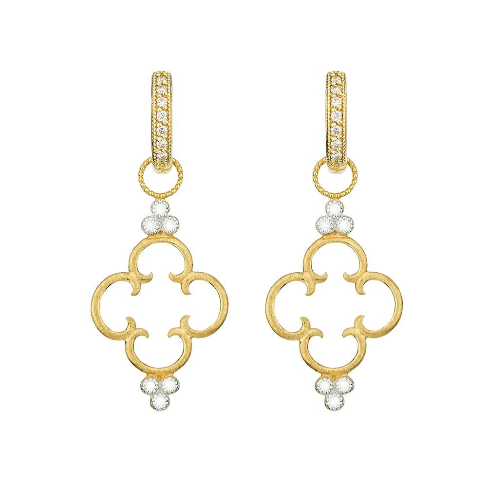 Jude Frances 18K Simple Clover Diamond Trio Earring Charm