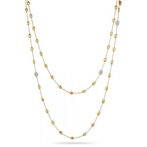 Marco Bicego Siviglia 18K Yellow Gold & Diamond Pave Small Bead Long Necklace