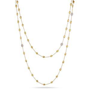 Marco Bicego Siviglia 18K Yellow Gold & Diamond Pave Small Bead Long Necklace