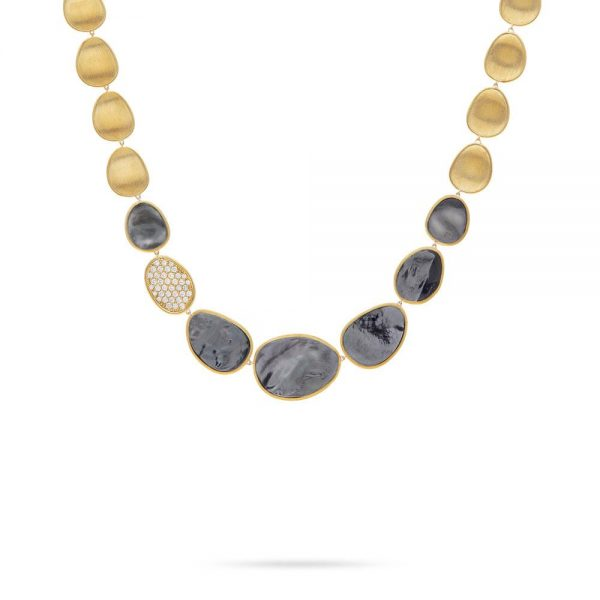 Marco Bicego Lunaria 18K Yellow Gold Black Mother of Pearl Small Single Station Collar Necklace