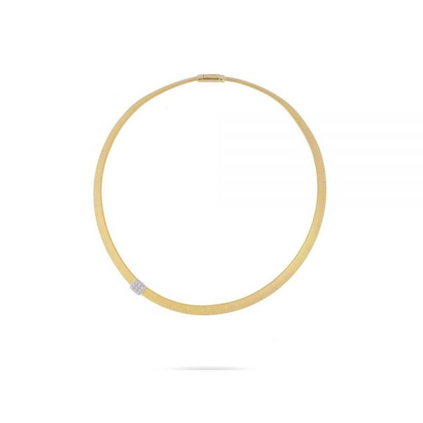 Marco Bicego Masai 18K Yellow Gold Wide Single Station Diamond Necklace