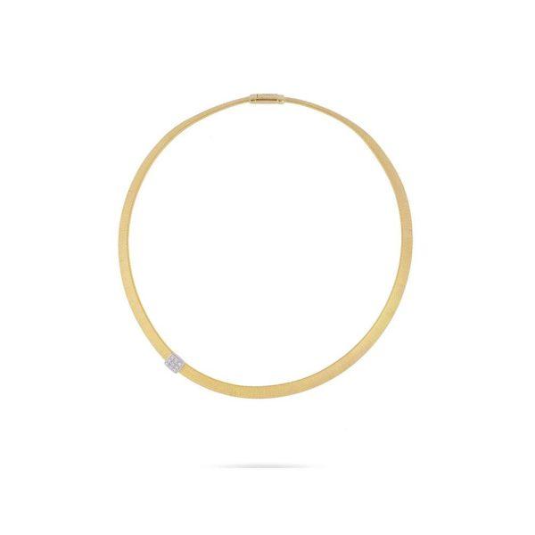 Marco Bicego Masai 18K Yellow Gold Wide Single Station Diamond Necklace