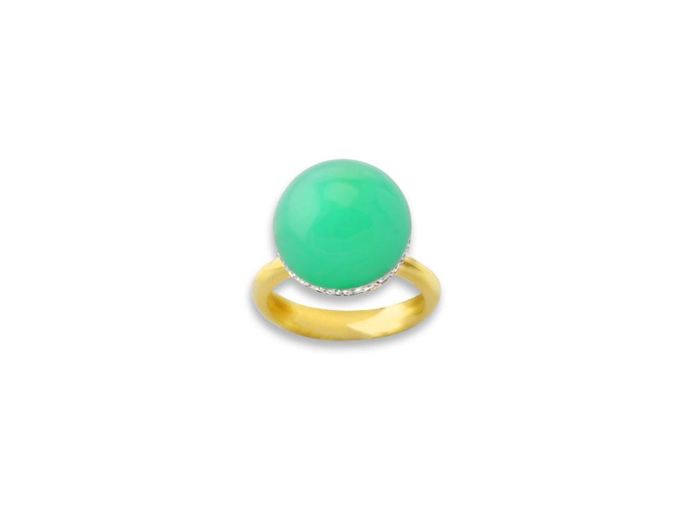 Caridi 13ct Apple Green Imperial Chrysoprase 18kt Gold Ring