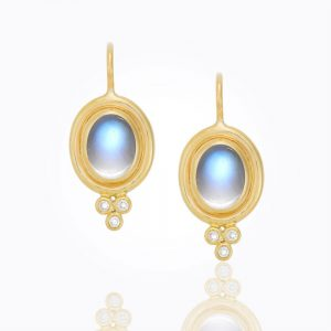 Temple St. Clair 18K Blue Moonstone Cabochon Oval Earring With Diamond