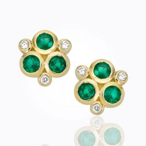 Temple St. Clair 18K Classic Trio Earrings With Diamond And Emerald