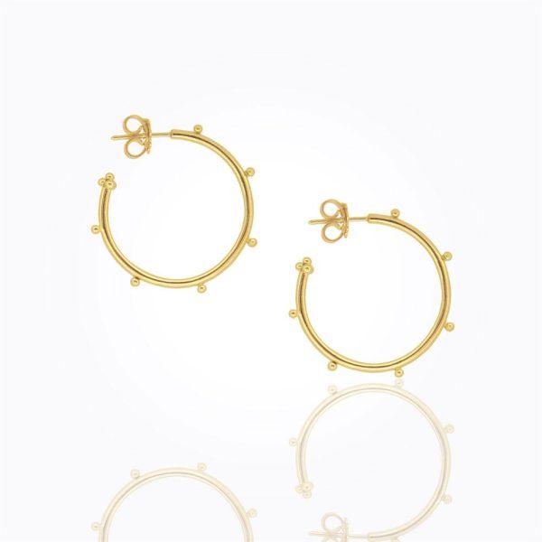 Temple St. Clair 18K Granulated Hoop Earrings