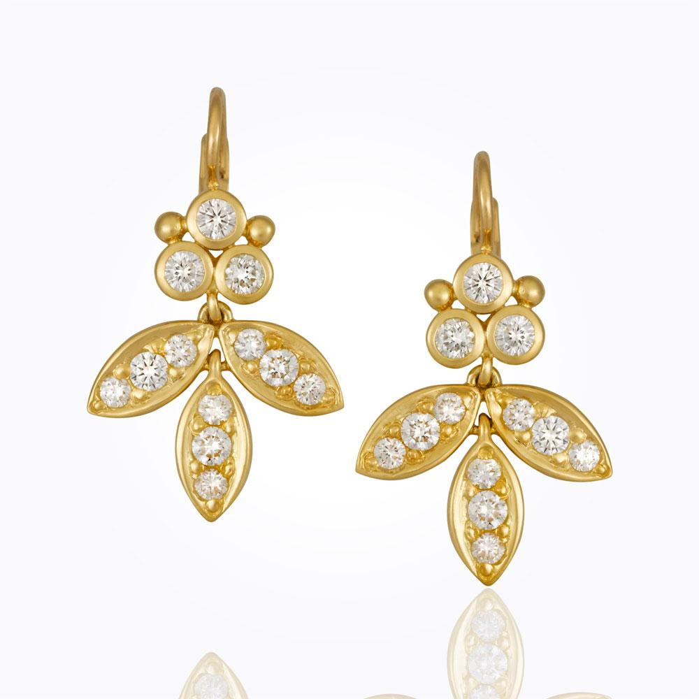 Temple St. Clair 18K Foglia Earrings with diamond pavé