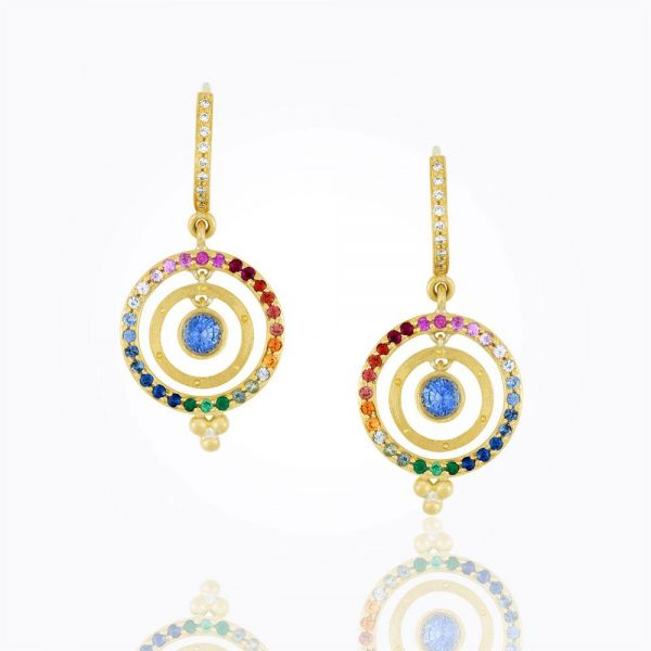 Temple St. Clair 18K Piccolo Tolomeo Earrings With Mixed Sapphire And Blue Sapphire Center