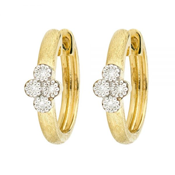 Jude Frances 18K Provence Small Hoop Diamond Earrings