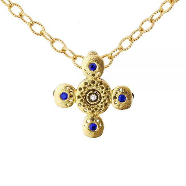 Alex Sepkus 18K Gold Sapphire And Diamond Cross Pendant