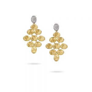 Marco Bicego Siviglia 18K Yellow Gold & Diamond Pave Small Rhomboid Earrings