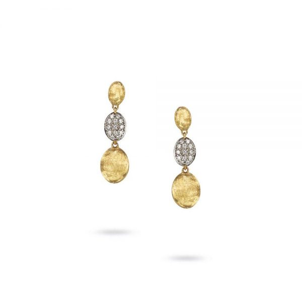 Marco Bicego Siviglia 18K Yellow Gold & Diamond Pave Triple Drop Earrings