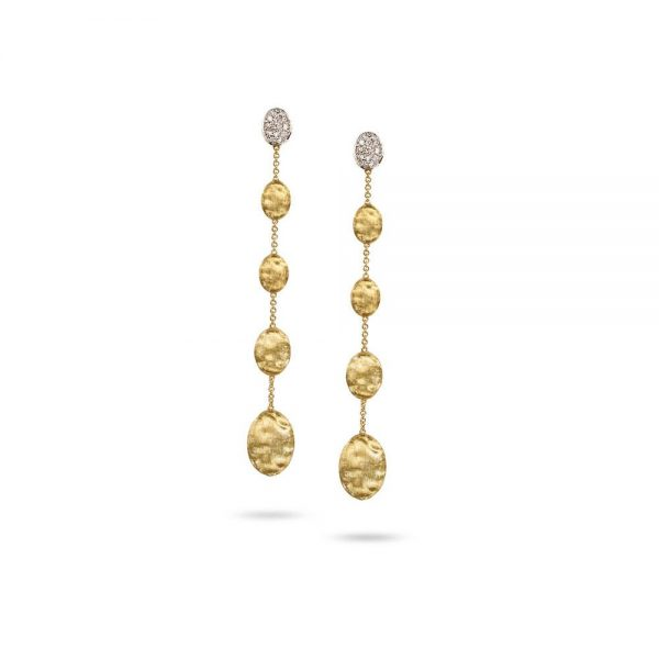 Marco Bicego Siviglia 18K Yellow Gold & Diamond Pave Long Drop Earrings