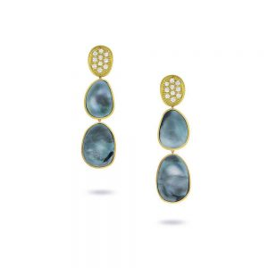 Marco Bicego Lunaria 18K Yellow Gold Black Mother of Pearl & Diamond Pave Small Triple Drop Earrings